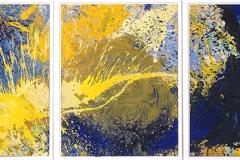 Getanzte Malerei_30 gelb-blau_345x140cm-3tlg_web